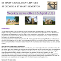 St Mary's, Gamlingay, weekly newsletter – 16th April 2021.
