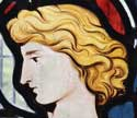 This handsome head is now incorporated in one of the new windows in the chancel of St Denis', East Hatley. It was made by glazier David Sear on behalf the Friends of Friendless Churches in 2021 – he made all the other windows in the church during the FoFC's initial (2018) restoration work. The head and other fragments were part of the stained glass rescued from the old east window after it was smashed by vandals following the church's redundancy in 1959.