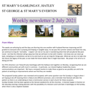 St Mary's, Gamlingay, weekly newsletter – 2nd July 2021.
