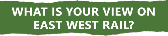 'What is your view on East West Rail?' header to link with a survey being conducted by Anthony Browne MP, July 2021.