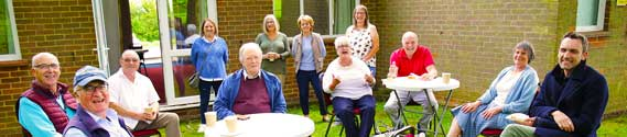 Hatley Coffee Morning, 3rd August 2021 – the first post-Covid event and warm enough to be in the Village Hall's garden.