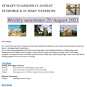 St Mary's, Gamlingay, weekly newsletter – 20th August 2021.