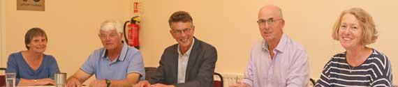 Hatley Parish Council - L/R: Nicola Jenkins, Harold Nickerson, Micky Astor (Deputy Chairman), Alan Pinney and Margot Eagle (Chair).