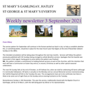 St Mary's, Gamlingay, weekly newsletter – 3rd September 2021.