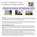 St Mary's, Gamlingay, weekly newsletter – 10th September 2021.