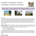 St Mary's, Gamlingay, weekly newsletter – 24th September 2021.